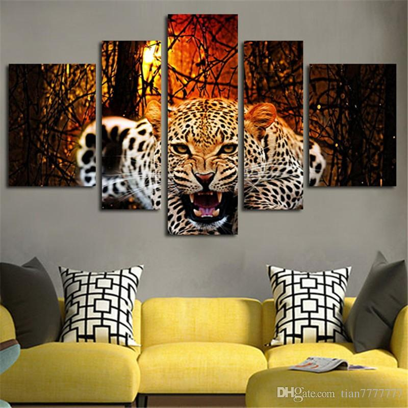 High Quality 5 Panel Wall Painting Canvas Art Modern Abstract Leopard Landscape Modular Pictures Poster Home Decor Unframed Drop shipping