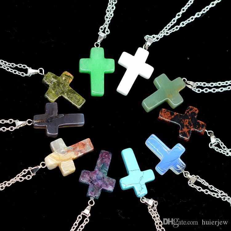 Cristais colar de jóias baratas cura Ametista colares de couro Quartzo Rosa Bead Chakra cura Ponto Mulheres Homens Pedra Natural Pingentes