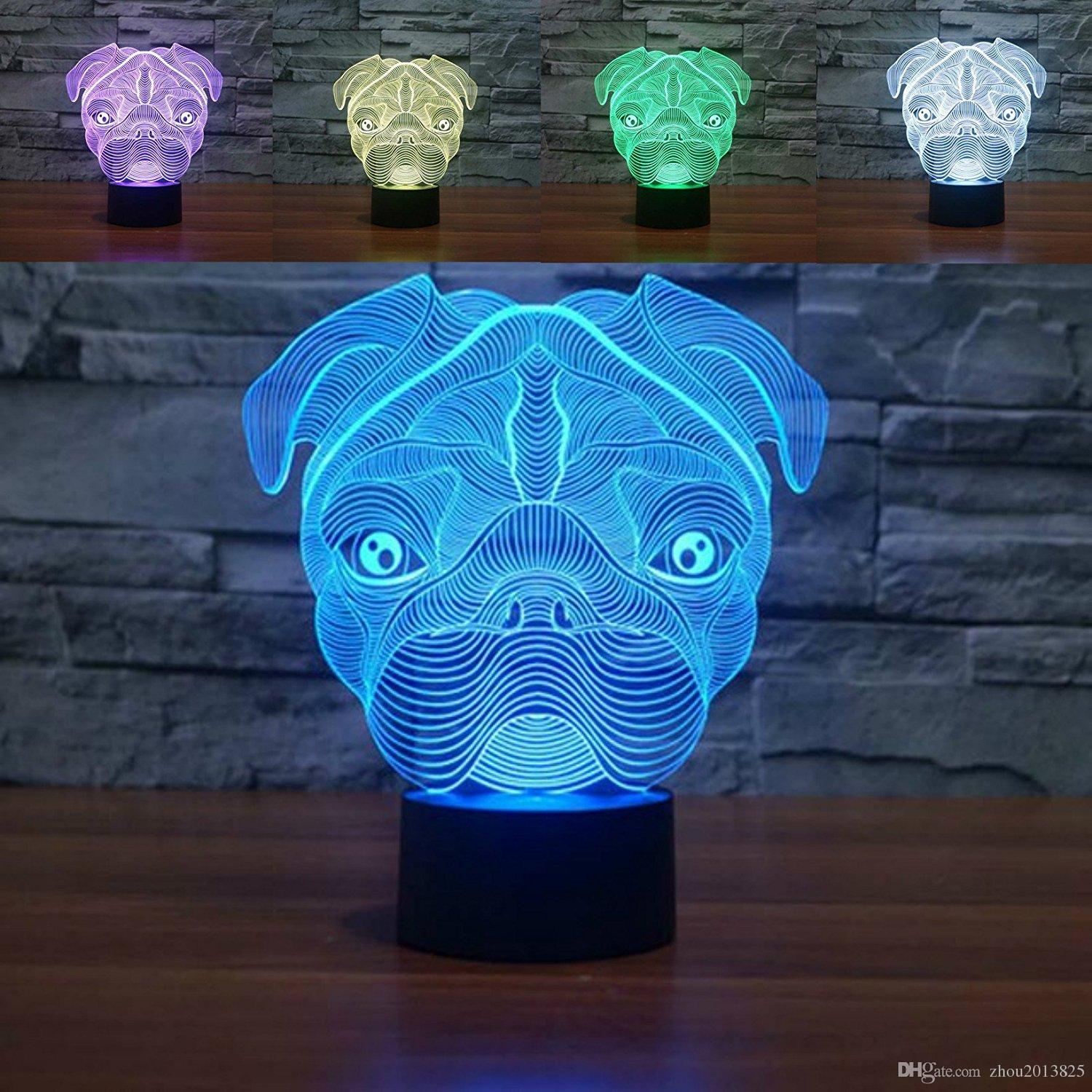 Cute Pug Dog Night Light Baby Animal Led Lights Table Lamps For Home Decor  Promotional Gifts For Kids Touch Table Lamp 3d Kids Night Lamp 3d Night  Table ...