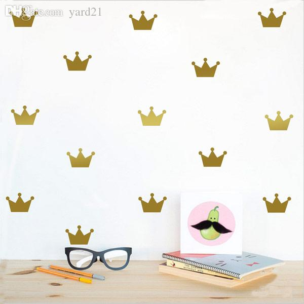Mini Crown Wall Sticker Removable DIY Art Decals for Baby Boys Girls Bedroom Nursery Playroom Living Room Dorm Classroom Office Shop