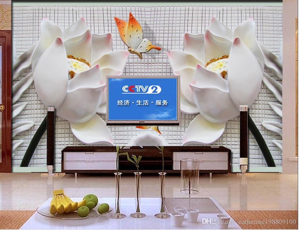 침실을위한 패션 장식 가정 장식 양각 된 3 차원 연꽃 벽화 TV 벽화 3d 벽지 tv 배경 3d 벽지 벽지