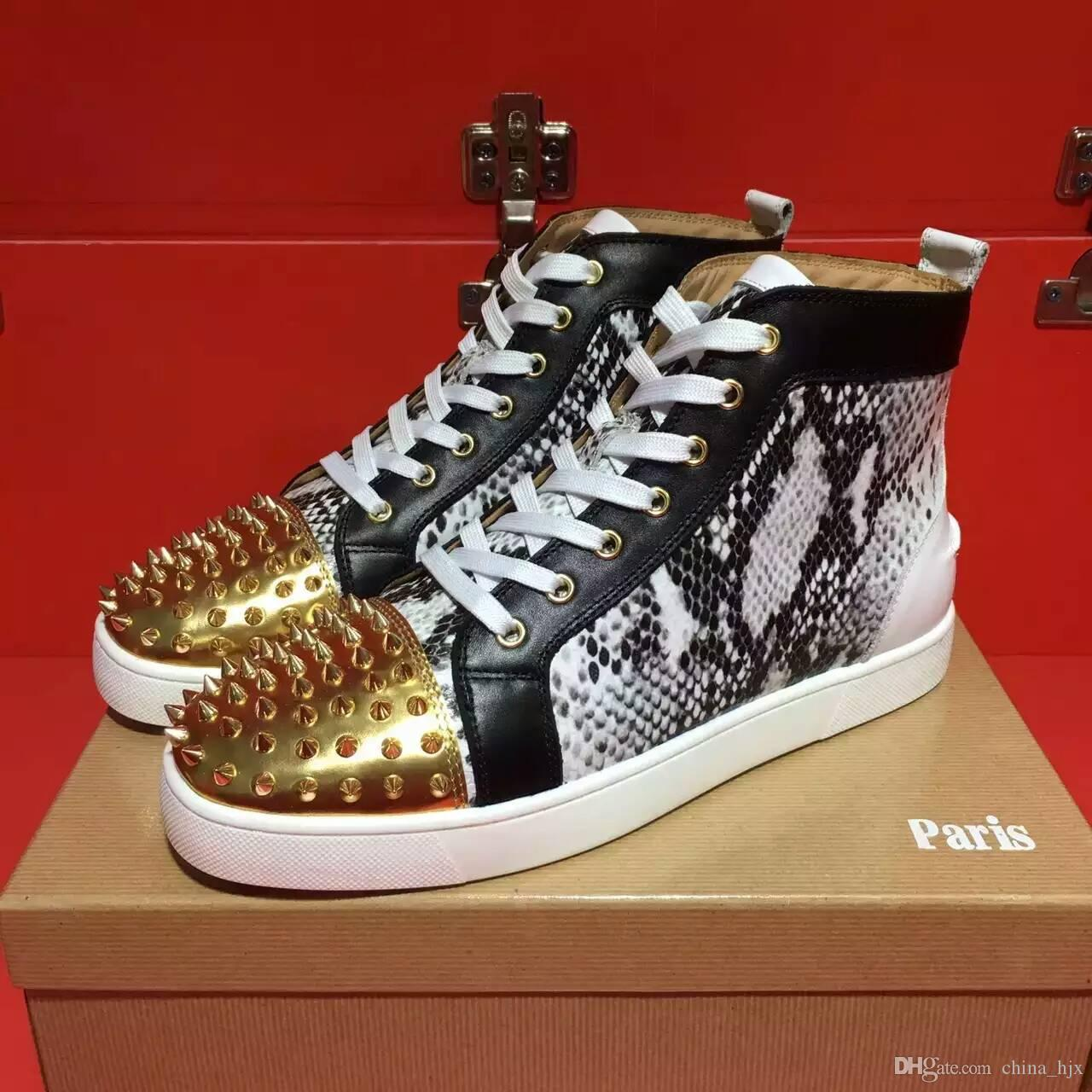 a195efb49ffb Size36 46 Men Women High End Custom High Top Golden Rivets Casual Shoes  Trend Front End Design Red Bottoms Sneakers Flat Spiked Shoes Vegan Shoes  Comfort ...