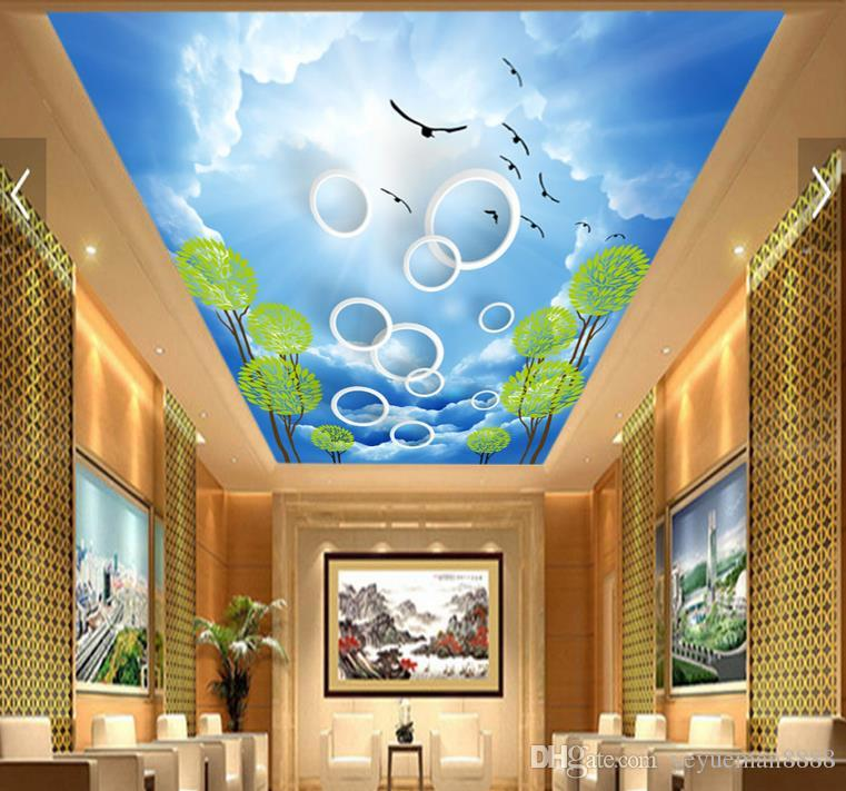 3d ceiling custom 3d wall mural High clear sky wallpaper for ceilings 3d wallpaper living room wallpaper ceiling modern