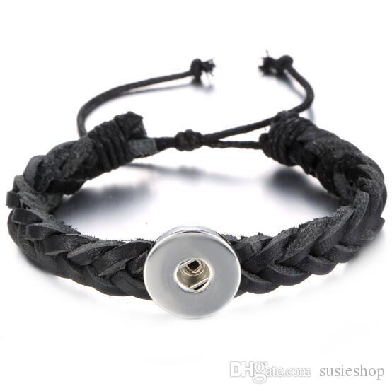 dc82ff3e3 Genuine Leather Braided Snap Bracelet. Personalized Snaps, Ginger ...