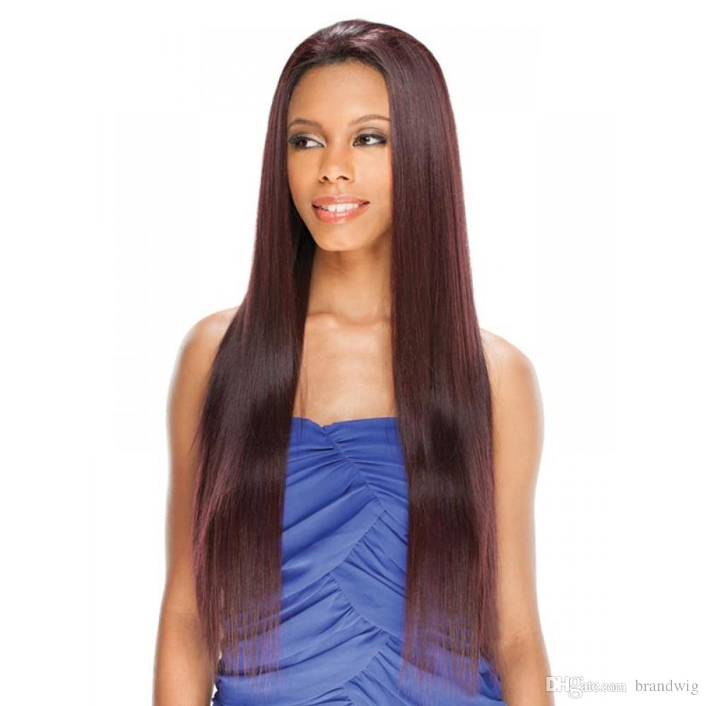 Brazilian Virgin Hair Light Yaki Straight Color #m4/33 Glueless Full Lace Wigs Lace Front Wig With Natural Hairline For Black Women Kabell
