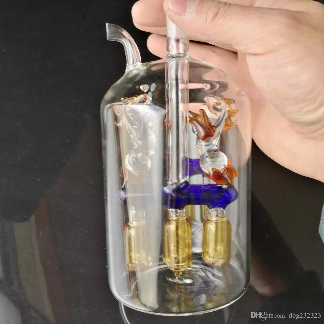 Çift at dört pençe nargile cam bongs aksesuarları, Cam Sigara Borular renkli mini çok renkli El Boruları En İyi Kaşık cam Boru