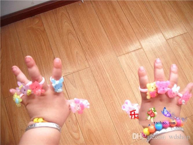 Candy Color Plastic Kids Rings For Girls Cartoon KT Cute Animal Rabbit Bear Children'S Day Jewelry For Christmas Gift