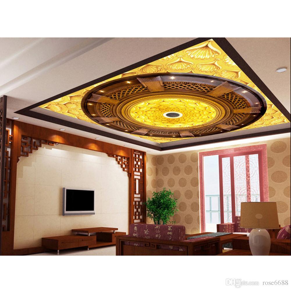 Großhandel Mode Dekor Hause Dekoration Für Schlafzimmer Home Decor  Wohnzimmer Natürliche Kunst Wandbild 3d Wandpapiere Für Tv Hintergrund  Goldene Decke Von ...