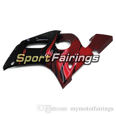 Carenados completos para Yamaha YZF600 R6 YZF-R6 98 - 02 1998 1999 2000 2001 2002 Inyección ABS Plastics Kit de carenado para motocicleta Red Gloss Black