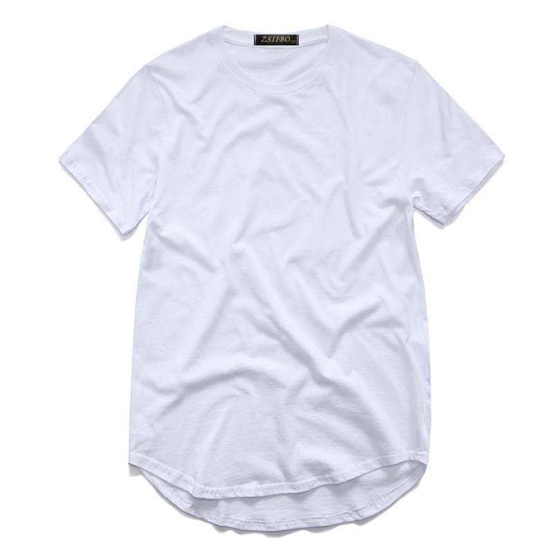 Camisa de T dos homens Kanye West Estendido T-Shirt Dos Homens de roupas Curvo Hem Longa linha Tops Tees Hip Hop Urbano Em Branco Justin Bieber Camisas TX135-R3