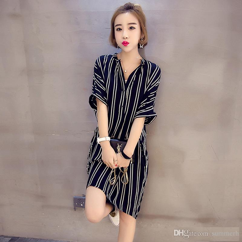 af4b0cc478e Summer Casual Dress Plus Size Woman Fashion Dresses Top Lady Striped Cheap  Long Dress For Womens Clothe Sexy Elegant Black Dress Dressing For Women  Black ...