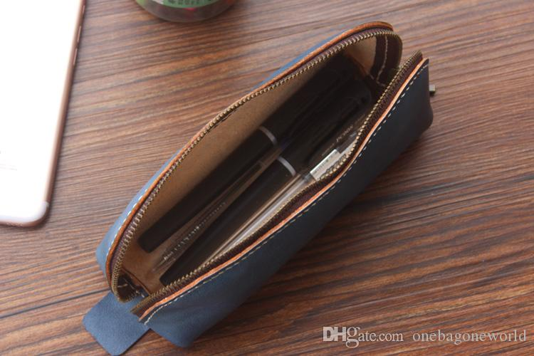 Luxury Women Wallets Genuine Leather Pusre Personalized Pencil Case Pen Pouch Leather Pen Case, Handmade Leather Coin Bag Zipper Around Bag