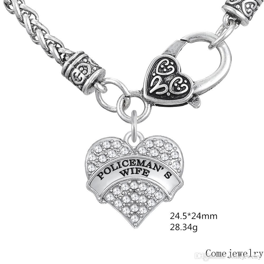 Gute Qualität Frauen Brief FRAU Anhänger Dicke Halsketten Bunte Herz Halsketten Kristall Herz Karabinerverschluss Link Ketten Schmuck