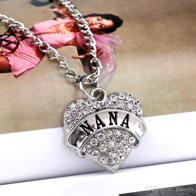 Día de la madre mejor regalo mamá hija Hija hermana abuela Nana tía familia collar corazón de cristal colgante Rhinestone joyería de las mujeres
