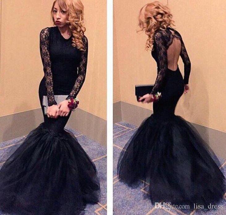 DW Gorgeous Black Mermaid Prom Dresses 20