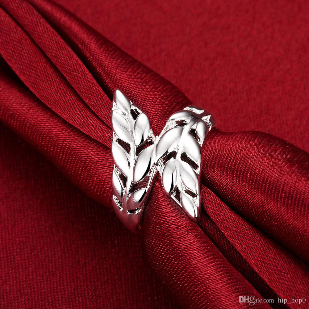 Wholesale 925 Jewelry Silver Plated Ring Silver Fashion Jewelry Leather Ring Ring Opened Adjustable Size Feather Charm Fashion Cheap Jewelry