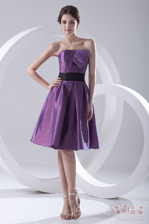 Compre Moda Una Línea Sin Tirantes De Tafetán Púrpura Homecoming ...