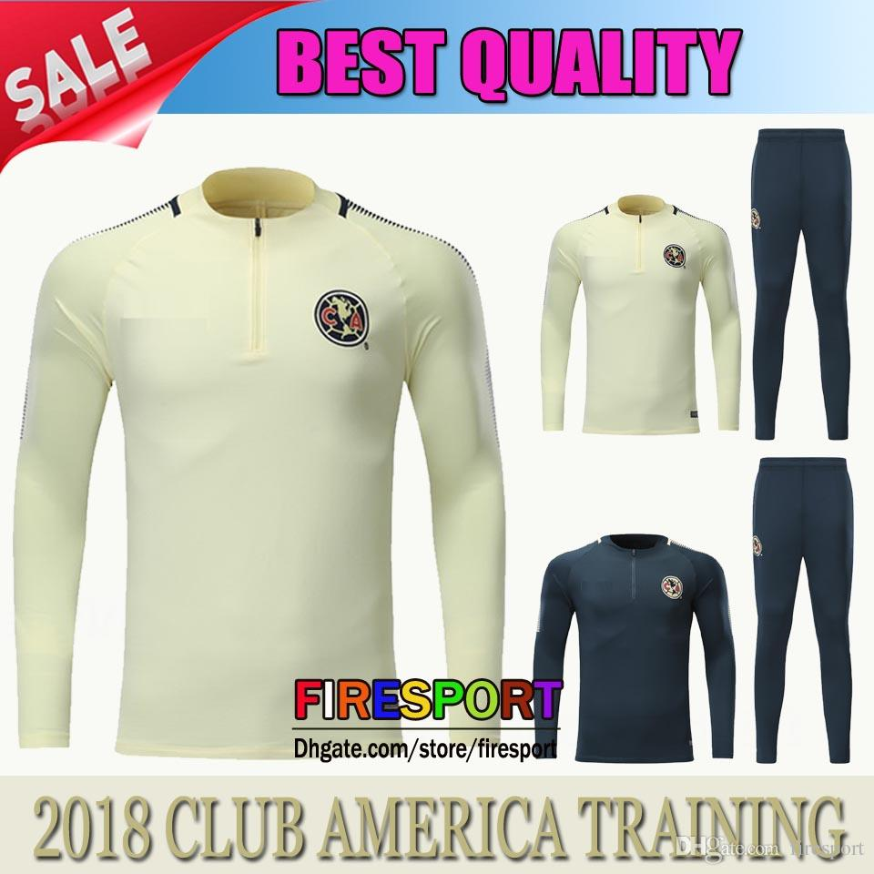 2019 TOP QUALITY 17 18 CLUB AMERICA Jacket Training Suit Kits Jersey  Survetement 17 18 Soccer Tracksuit Chandal Maillot De Foot Football Shirts  From ... 68004228f