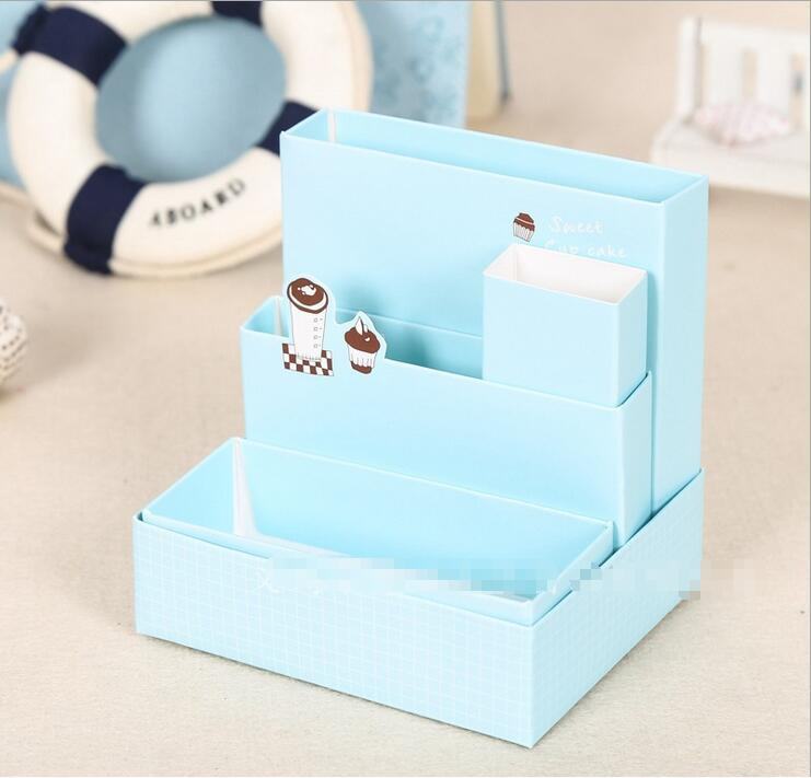 Lovely DIY Paper Board Storage Box Desk Decor Stationery Makeup Cosmetic Organizer