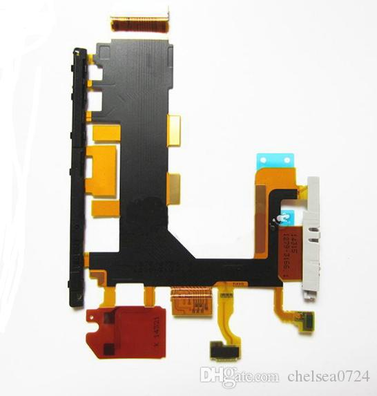 High quality For Sony Xperia Z Z1 Z2 Z3 L50W Power Button / Volume Switch Flex Cable Microphone Replacement D6502 D6503 D6543 Repair Parts