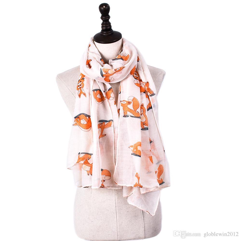 新しいファッションかわいいフォックスプリントスカーフ女性のフォックスパターンショールのラップアニマルパターンスカーフロングハイジャップギフト2017新しいデザイン送料無料