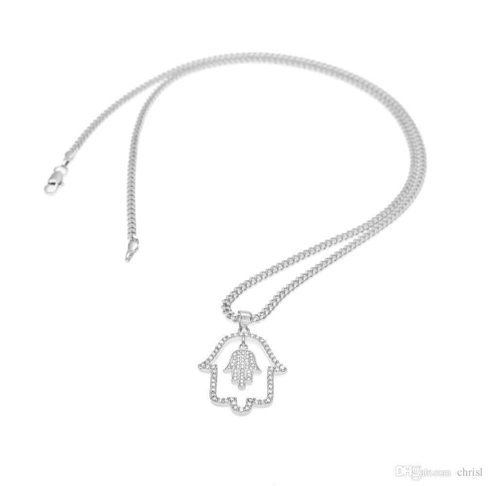 Hot Hamsa Hand Necklace Gold Color Cubic Zirconia Pendants & Necklaces Women/Men Link Chain Amulet Hand of Fatima Jewelry