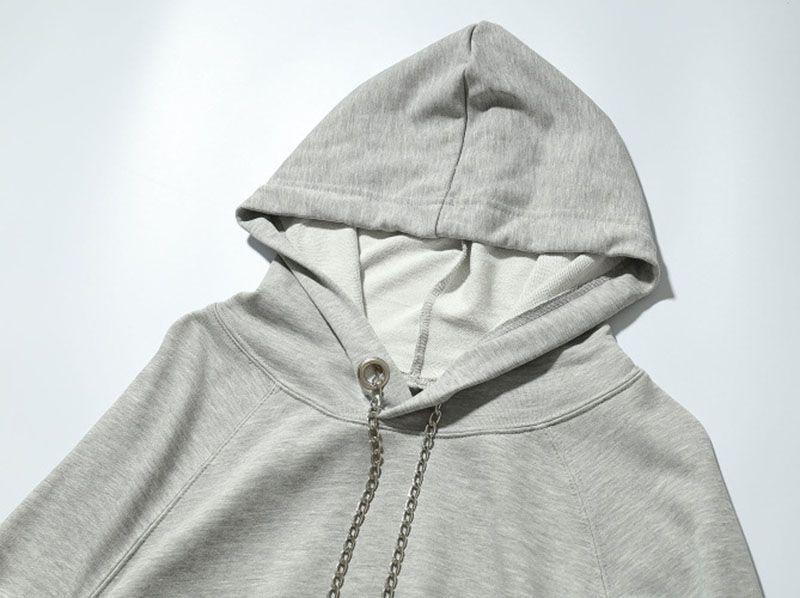 Men solid Pullover Triangle Chain Design Hoody Streetwear Black Grey Personality Lace Hem Hoodies Sweatshirts