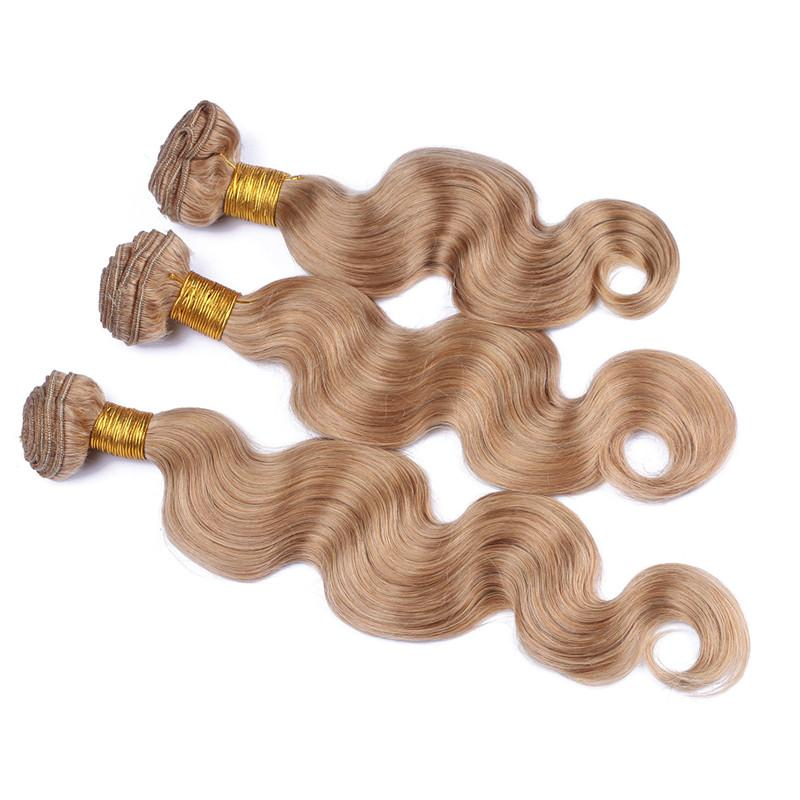 Best Brazilian Honey Blonde Human Hair Weaves With Lace Closure #27 Light Brown 4x4 Front Lace Closure With Body Wave 3Bundles