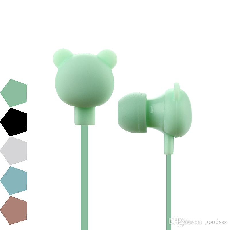 Cute Bear Earphones Bunte Cartoon Studio In-Ear Freisprecheinrichtung mit Mic-Taste Fernbedienung 3,5 mm Headsets für iPhone Samsung Huawei Xiaomi