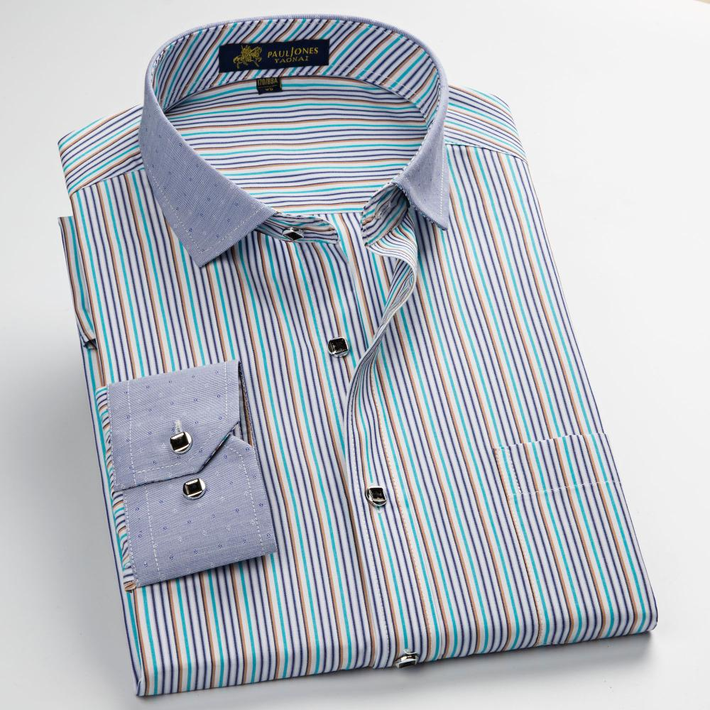 2019 Mens Non Iron Business Formal Shirts Patchwork Casual Striped