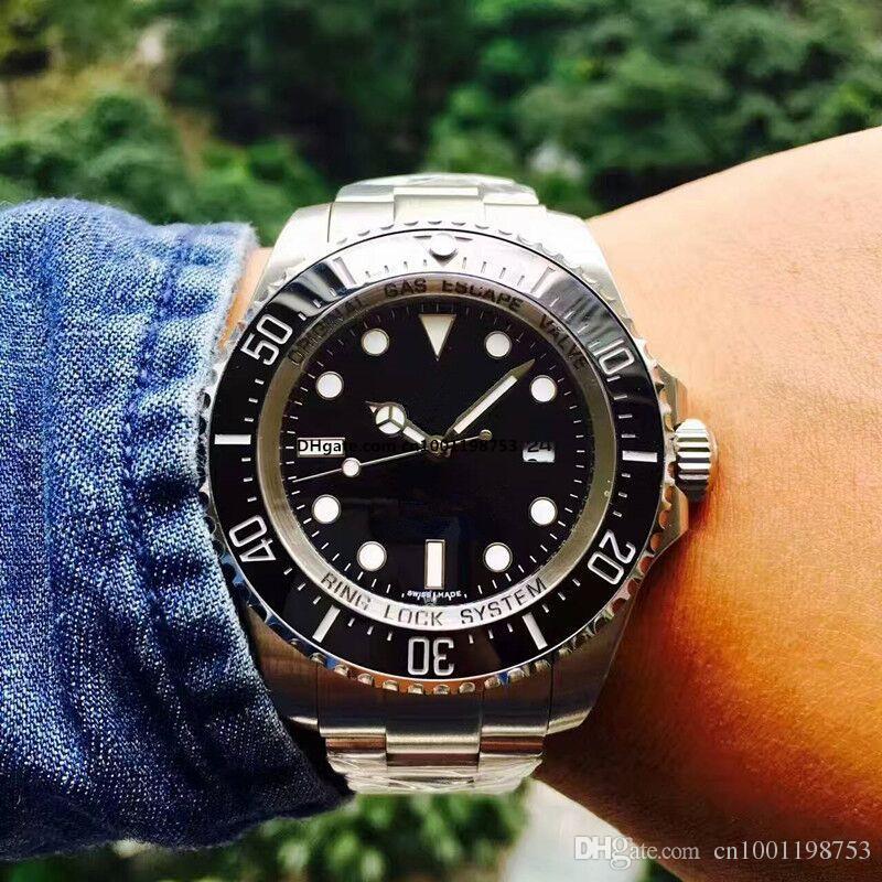 2017 Luxury New Gent's GMT II 2 quartz Self Wind Watches Stainless Steel Dive White Black Silver Master 44mm Mens Watch
