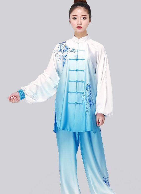 унисекс стрейч шелк тай-чи производительность костюм платье одежда синий и белый фарфор цвет вышивка боевых искусств одежда костюм