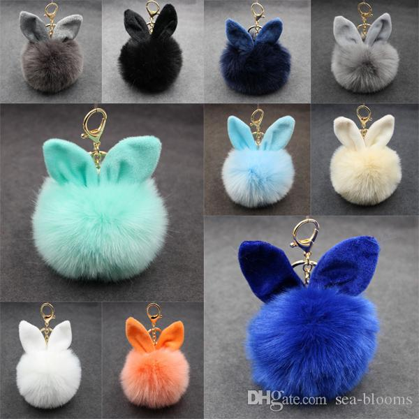20 Color 3.94 Inch Rabbit Fur Ball Keychain Ear Pompom Phone Bag Charm Pendant Women Gift 18K Gold Plated C99Q