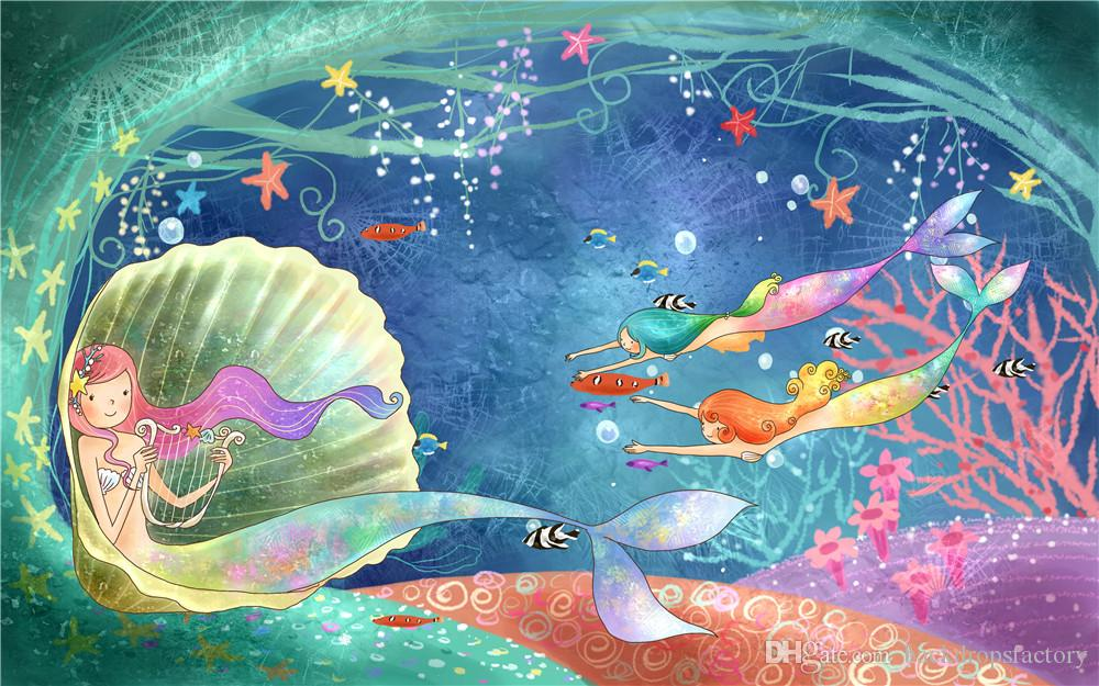 2018 Fairy Tale Mermaid Background Bubbles Little Mermaids Swimming Under The Sea Backdrop Princess Girl Birthday Party Photo Backdrops From