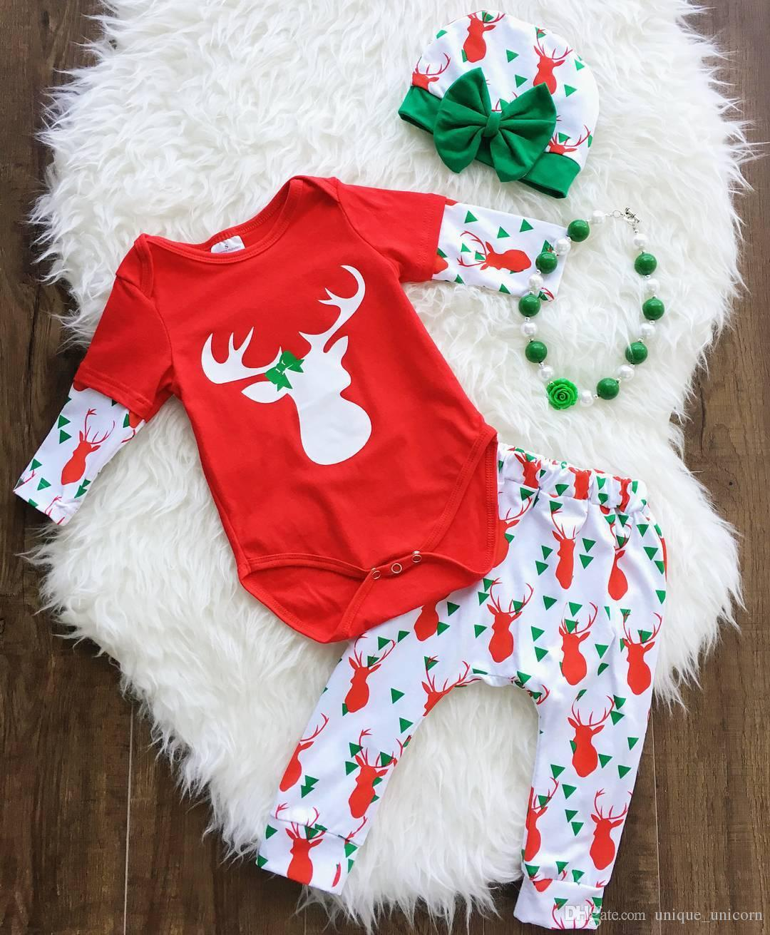 Newborn Christmas Outfit Girl.2019 2017 Ins Baby Girls Christmas Sets Infant Toddler Red Romper Deer Printed Pants Bow Hat Set Cute Bodysuit Clothes Suits From Unique Unicorn