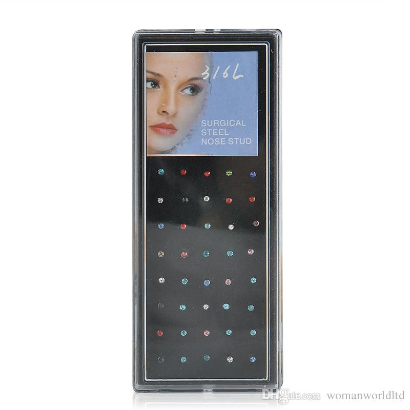 Heißer verkauf 60 Teile / schachtel Verpackt Europa 1,8mm Medizinische Titan Stahl Diamant Gefälschte Nase Stud Nasenring Piercing Schmuck großhandel