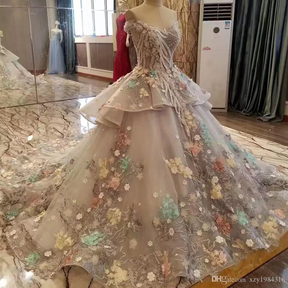 Medio-Oriente di Charme principessa abito da sposa perline spalle Colorful Flower Appliques Wedding Gowns nuovi Fata vestito grigio nuziale