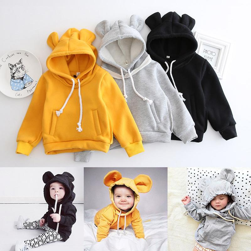 b818eba08 2019 Kids Bear Ear Hoodie Autumn Children Long Sleeve Baby Girls ...