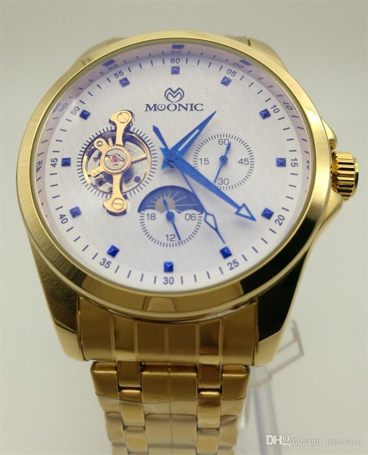 Quelque chose de bleu Montres Homme Autonmatic Montre-bracelet mécanique Acier Stainies Band Blanc étanche sport Montres