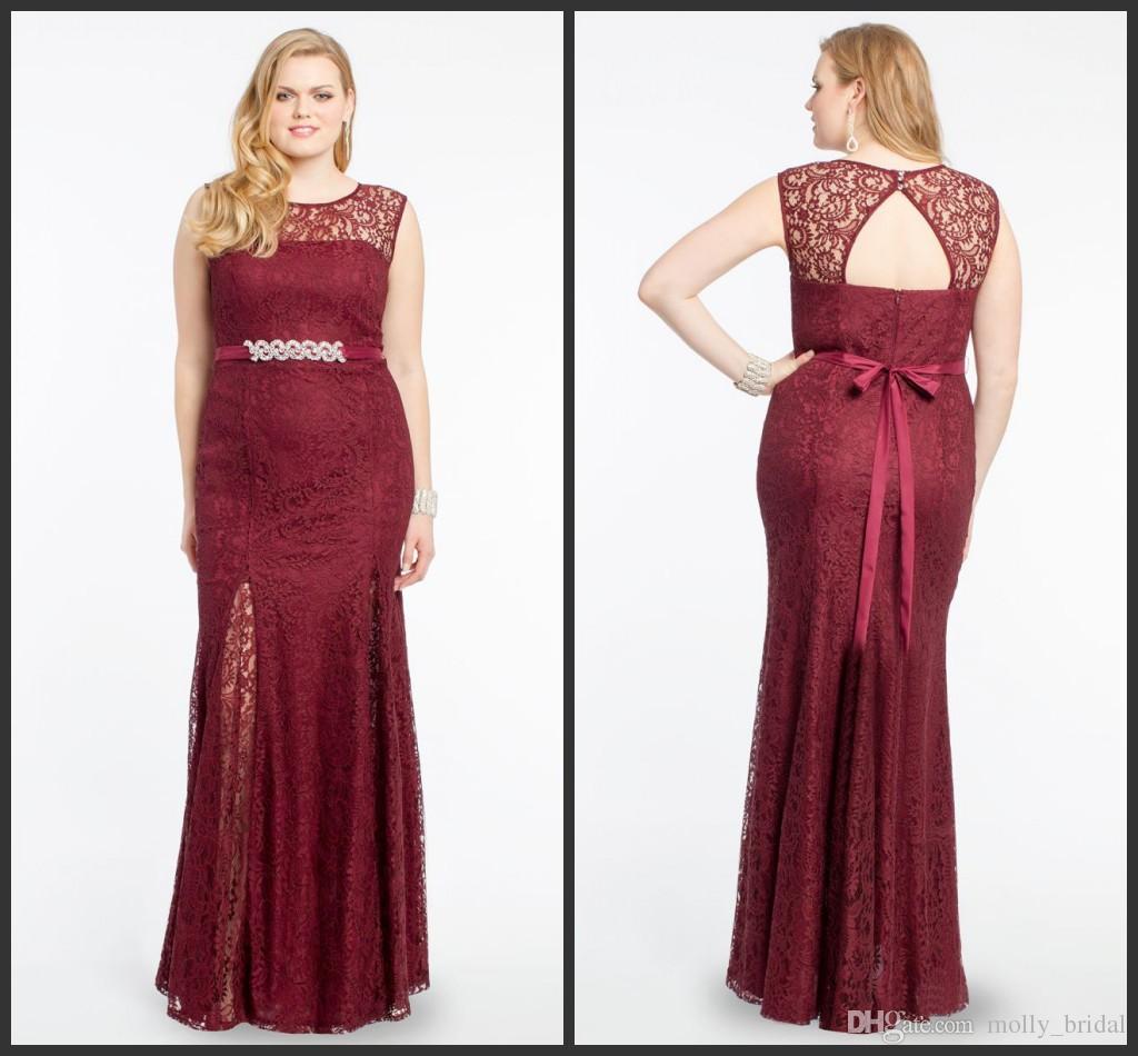 Burgundy Plus Size Dresses Evening Wear 2017 New Cheap Jewel Sheer ...