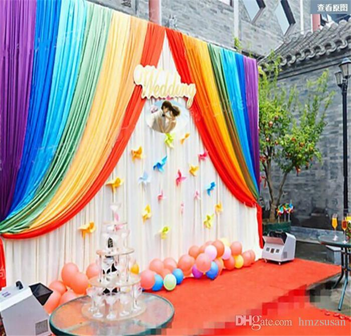 Rainbow Background Curtains For Birthday Party Decortion Wedding