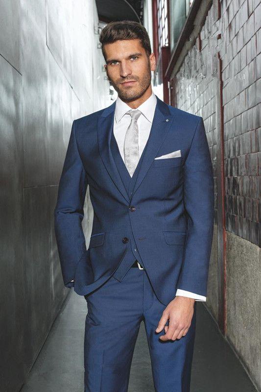 Custom Made 2015 Slim Fit Navy Blue Arabic Wedding Suit For Men ...