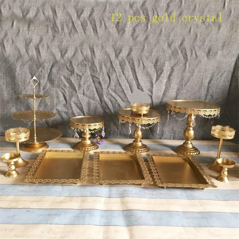 2019 White Gold Cake Stand Wedding Cupcake Stand Set Crystal