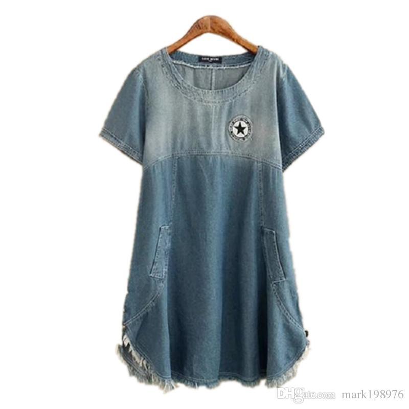 42ebf209df7 2017 New Arrival Women Dress Summer Style Short Sleeve Denim Dresses High  Quality Loose Dress Ladies Vestidos Plus Size DR017 Sexy Dresses Vintage  Dresses ...