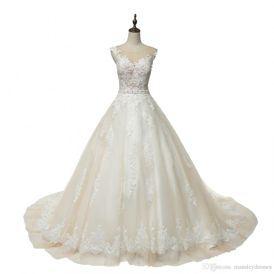 Real Sample Wedding Dress 2018 Elegant Champagne Sleeveless Tulle