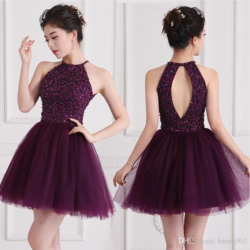 Real Amostra Keyhole Voltar Partido vestido roxo Beading Prom Dress Sexy Halter Neck-line curto Dresses Prom Vestidos Largos alta qualidade