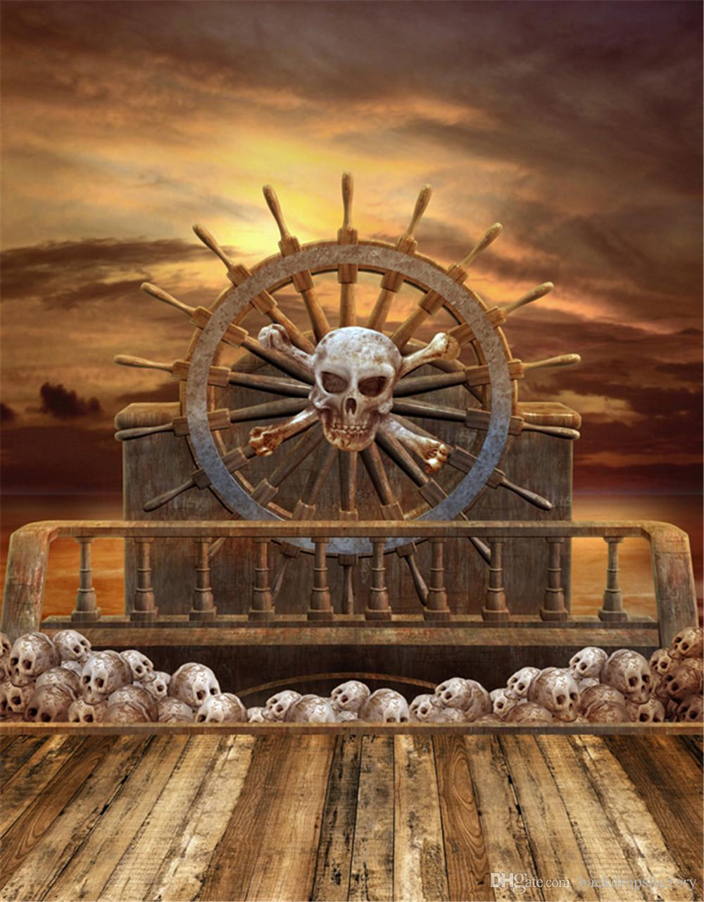 2019 Wooden Pirate Ship Children Photography Backdrop Wood
