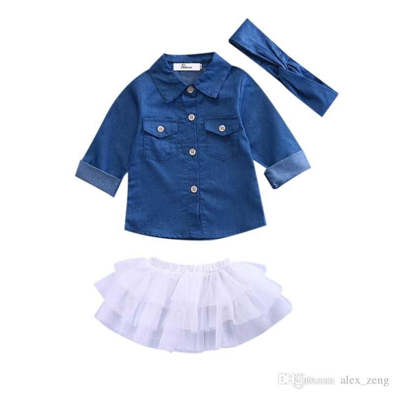 Baby Denim Fashion Set Kleidung Kinder Langarmshirts Top + Shorts Rock + Bogen Stirnband 3 STÜCKE Outfits Kid Trainingsanzug
