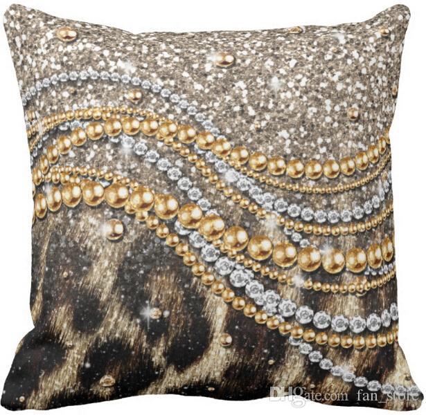 Throw Pillow Case Precioso estampado de leopardo de moda estampado de animales Square Sofa Cojines Cover,