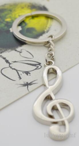 مفتاح حلقة مفتاح سلسلة الفضة مطلي الموسيقية مذكرة سلاسل المفاتيح سلاسل مفاتيح رمز الموسيقى المعدنية
